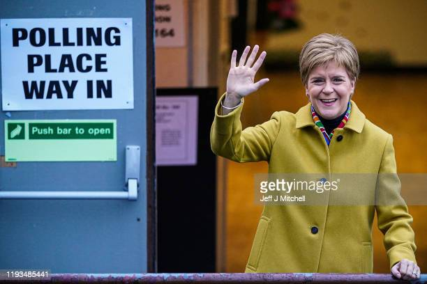 First Minister of Scotland and leader of the SNP Nicola Sturgeon votes at Broomhouse Community Hall in Ballieston on December 2019, in Glasgow,...