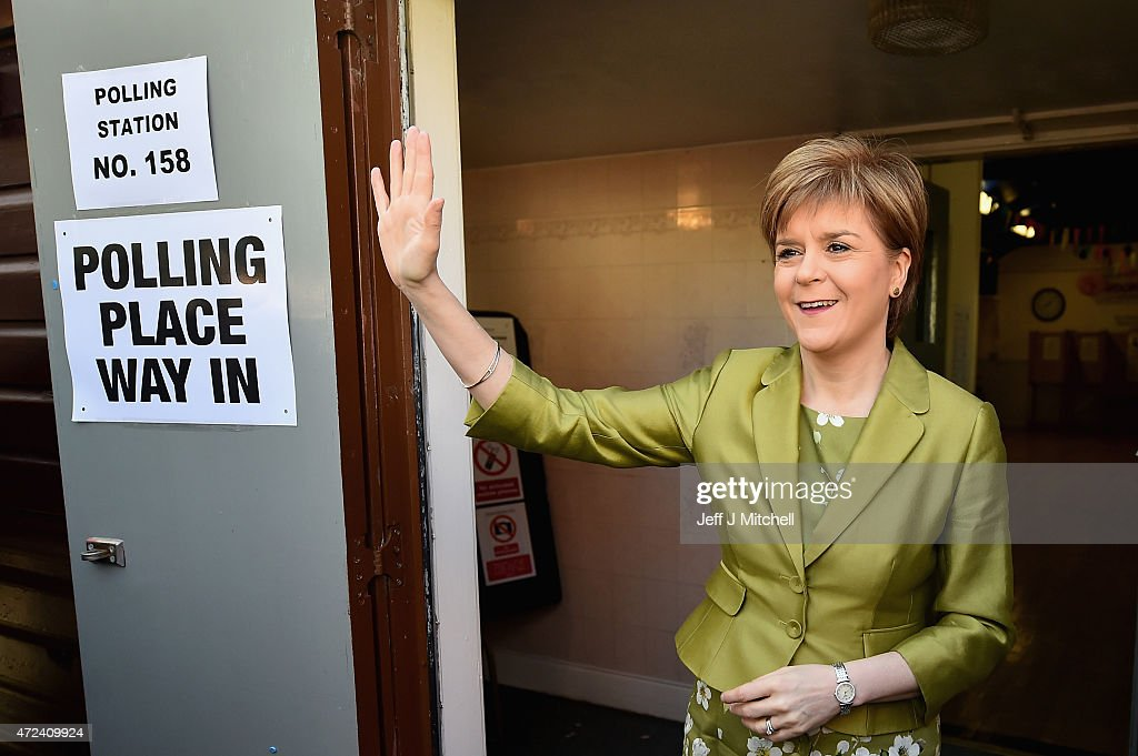 Leader Of The SNP, Nicola Sturgeon, Casts Her Vote As The UK Goes To The Polls