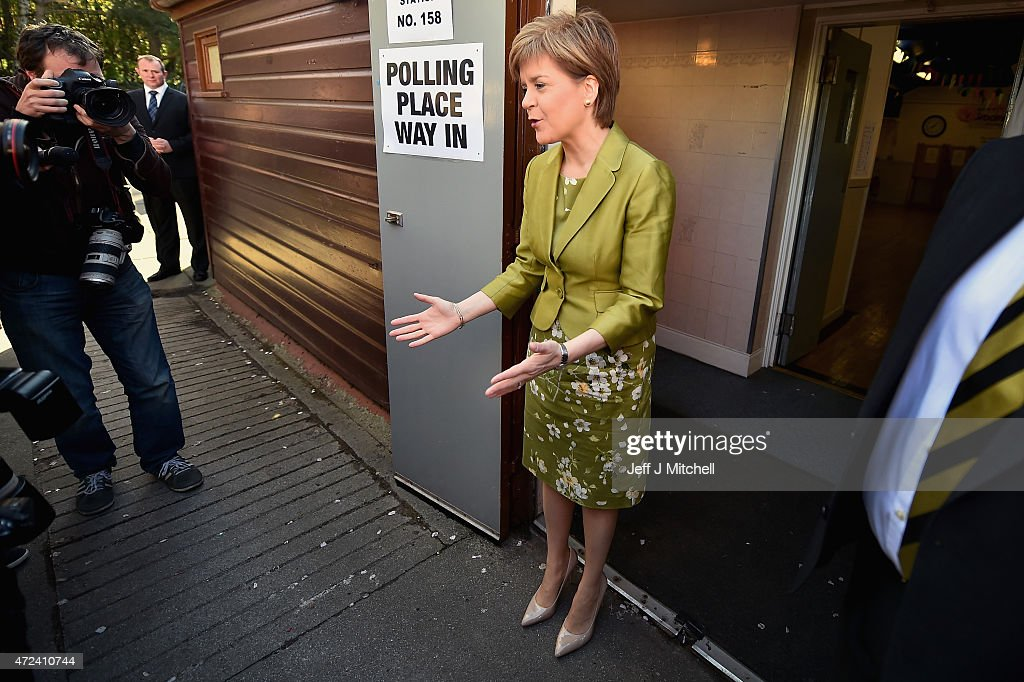 First Minister of Scotland and leader of the SNP Nicola Sturgeon appears with the media after voting on May 7, 2015 in Glasgow, Scotland. People across Scotland have begun casting their votes in the UK general election, with fifty nine Scottish seats up for grabs. The United Kingdom has gone to the polls to vote for a new government in one of the most closely fought General Elections in recent history.