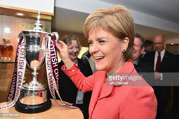 First Minister of Scotland and leader of the SNP Nicola Sturgeon visits the Heart of Midlothian FC's Tynecastle Stadium on May 26 2015 in Edinburgh...