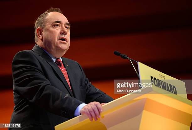 First Minister of Scotland and SNP leader Alex Salmond makes his keynote speech at The SNP Autumn Conference at the Perth Concert Hall on October 19...