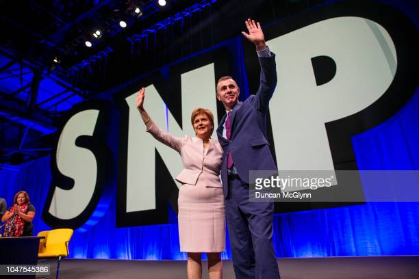 First Minister of Scotland Nicola Sturgeon and Adam Price leader of Plaid Cymru makes his keynote speech at the 84th annual SNP conference at the...
