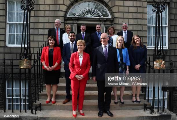 First Minister of Scotland Nicola Sturgeon and Deputy First Minister John Swinney with Mike Russell Roseanna Cunningham Derek Mackay Michael Matheson...