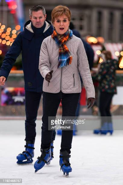 First Minister of Scotland Nicola Sturgeon and Scottish Finance Secretary Derek Mackay ice skate as they join Kirsty Blackman general election...