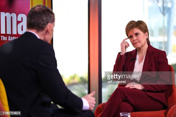 First Minister of Scotland Nicola Sturgeon appears on the Andrew Marr show on October 13 2019 in Aberdeen Scotland Speaking ahead of the SNP's autumn...
