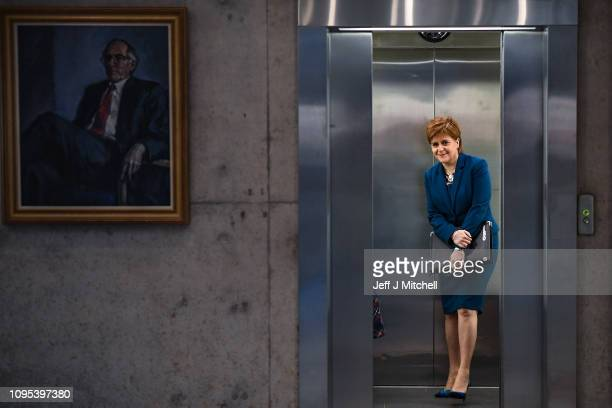 First Minister of Scotland Nicola Sturgeon arrives before answering questions in the Scottish Parliament on January 17 2019 in Edinburgh Scotland...