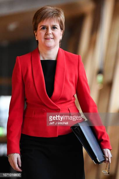 First Minister of Scotland Nicola Sturgeon arrives for minister's questions in the Scottish Parliament on November 22 2018 in Edinburgh Scotland