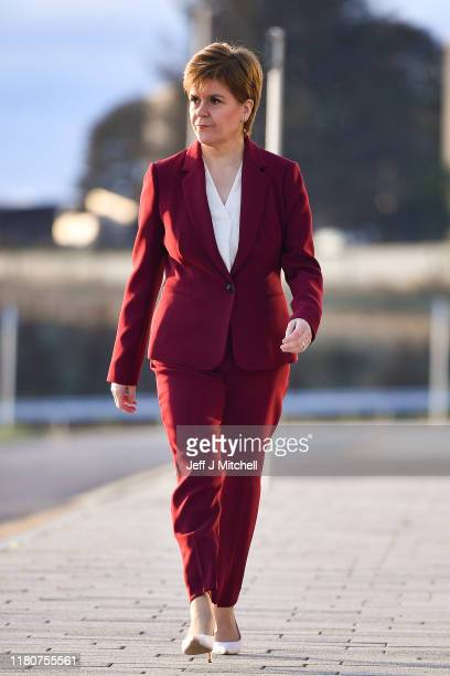 First Minister of Scotland Nicola Sturgeon arrives for the Andrew Marr show on October 13 2019 in Aberdeen Scotland Speaking ahead of the SNP's...