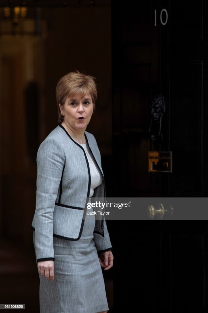 First Minister of Scotland Nicola Sturgeon arrives for the Joint Ministerial Committee Meeting at 10 Downing Street on March 14, 2018 in London, England. The Joint Ministerial Committee (JMC) acts as a focus for the coordination of the relationships between the devolved governments of the UK. Attending the meeting with British Prime Minister Theresa May today is the First Minister of Wales Carwyn Jones and First Minister of Scotland Nicola Sturgeon.