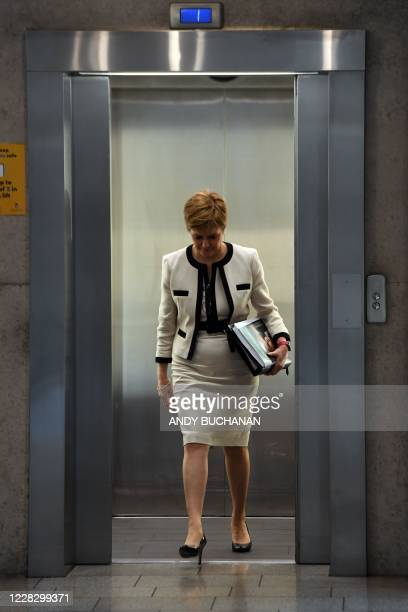 First Minister of Scotland Nicola Sturgeon arrives to deliver the Programme For Government during a session in the debating chamber of the Scottish...