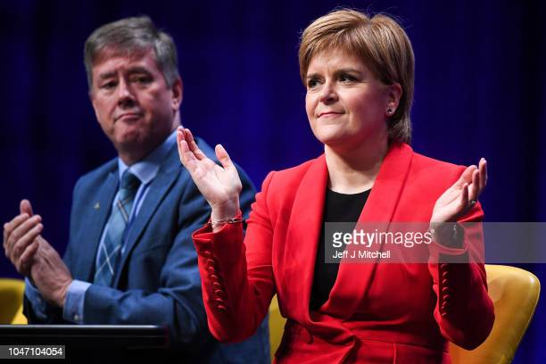 First Minister of Scotland Nicola Sturgeon attends the 84th annual SNP conference at the Scottish Exhibition and Conference Centre on October 7 2018...