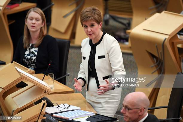 First Minister of Scotland Nicola Sturgeon delivers the Programme For Government during a session in the debating chamber of the Scottish Parliament...