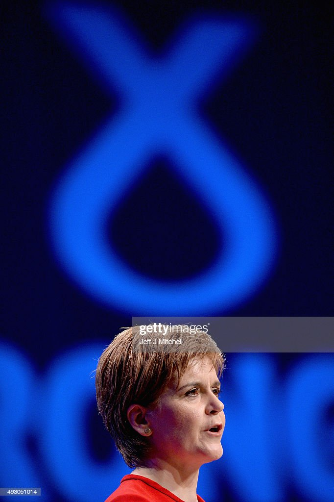 First Minister of Scotland Nicola Sturgeon gives her keynote speech at the 81st annual SNP conference at the Aberdeen Exhibition and Conference Centre on October 17, 2015 in Aberdeen, Scotland. During her address to delegates, Nicola Sturgeon announced a pledge to build a new network of NHS treatment centres and more financial support for carers if the SNP wins next year's Holyrood elections.