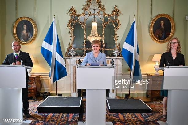 First Minister of Scotland Nicola Sturgeon holds a media briefing with Scottish Greens co-leaders Patrick Harvie and Lorna Slater at Bute House on...