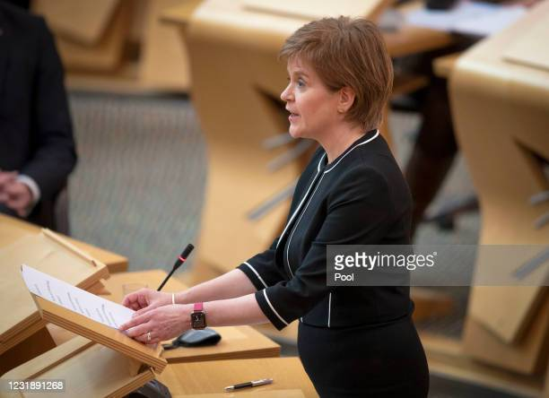 First Minister of Scotland Nicola Sturgeon in the main chamber during the debate on the motion of no confidence against First Minister Nicola...