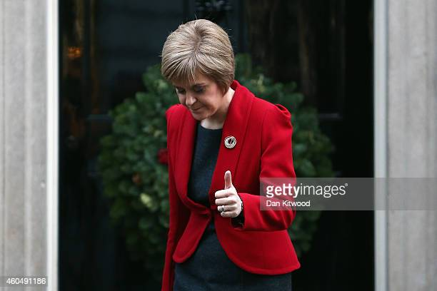 First Minister of Scotland Nicola Sturgeon leaves 10 Downing Street on December 15 2014 in London England Nicola Sturgeon met with British Prime...