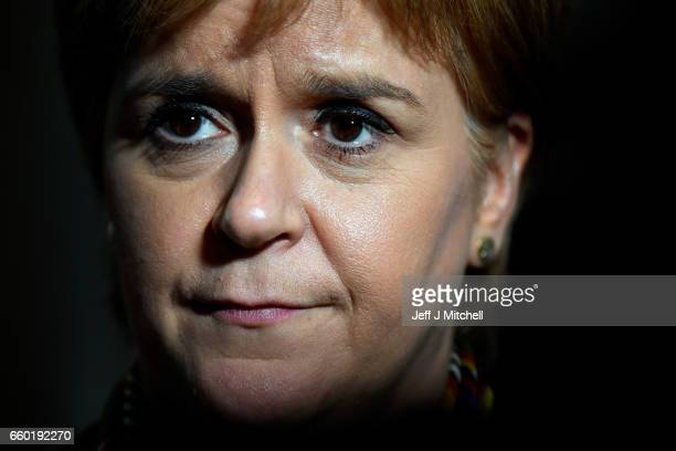 First Minister of Scotland Nicola Sturgeon looks on as she attends the Scottish Parliament on March 29 2017 in Edinburgh Scotland Nicola Sturgeon has...