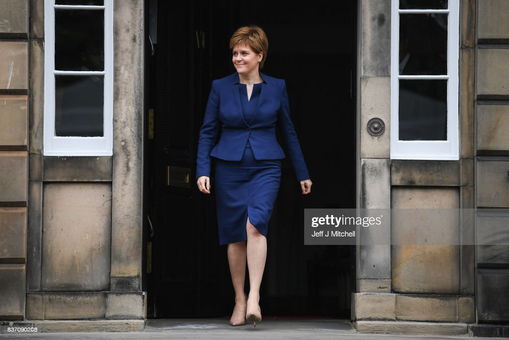 First Minister of Scotland Nicola Sturgeon makes her way to meet First Minister of Wales Carwyn Jones at Bute House on August 22, 2017 in Edinburgh,Scotland. The two First Ministers met in Edinburgh to discuss how the two Governments can work together to protect devolution.