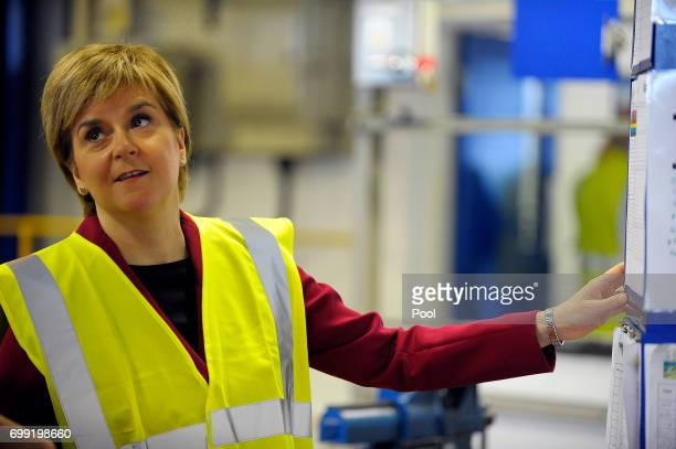 First Minister of Scotland Nicola Sturgeon meets apprentices as she visits the Michelin Tyre factory on June 21 2017 in Dundee Scotland More than 16...