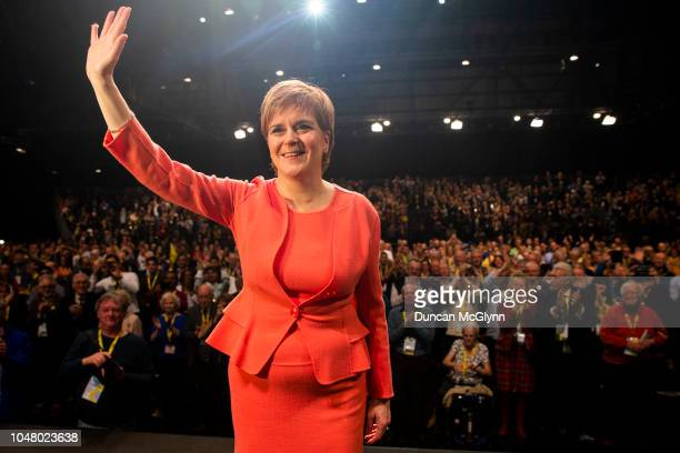 First Minister of Scotland Nicola Sturgeon MSP makes her keynote speech at the 84th annual SNP conference at the Scottish Exhibition and Conference...