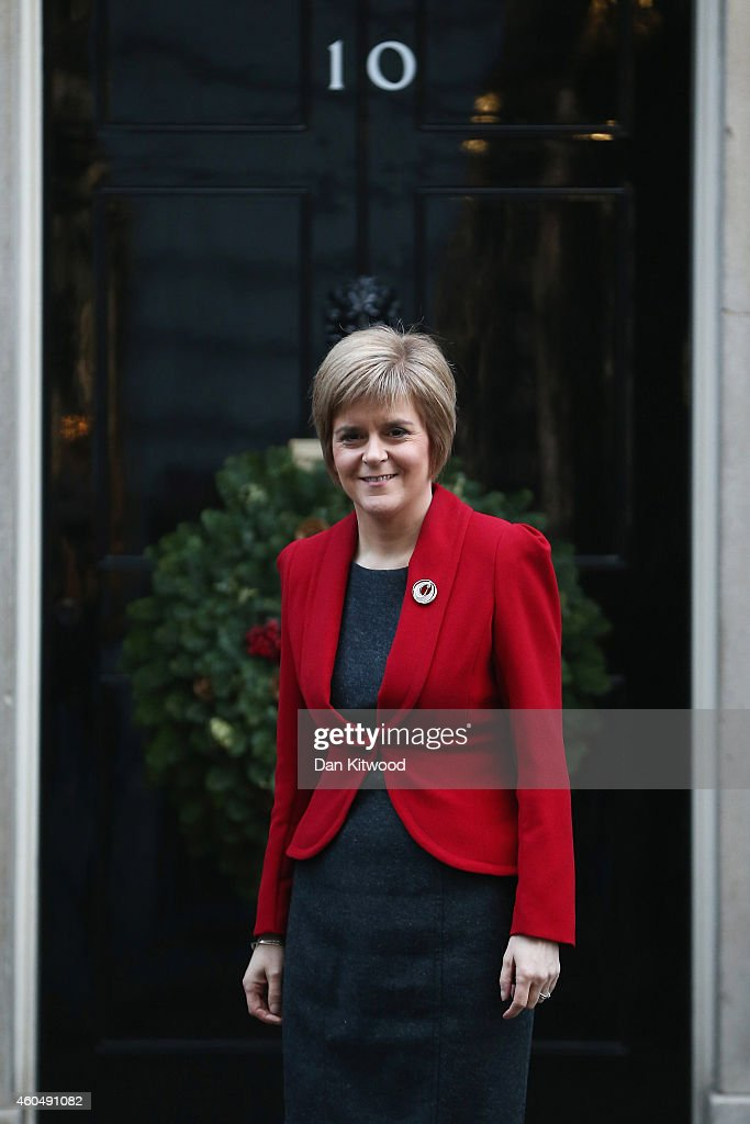 First Minister of Scotland Nicola Sturgeon poses for a photograph outside 10 Downing Street on December 15, 2014 in London, England. Nicola Sturgeon met with British Prime Minister David Cameron on her first visit to 10 Downing Street since becoming First Minister of Scotland.