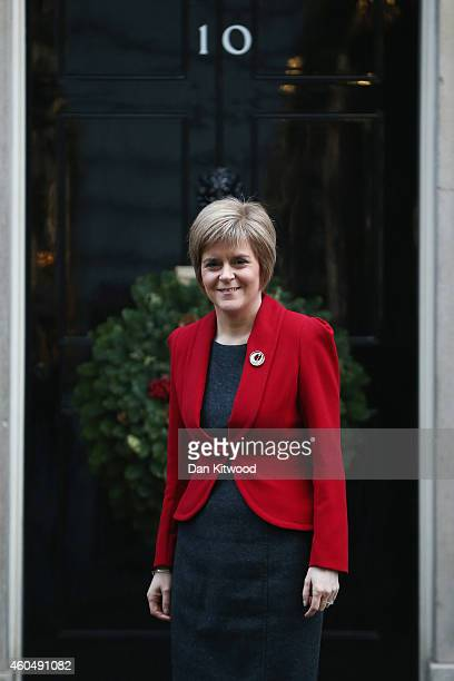 First Minister of Scotland Nicola Sturgeon poses for a photograph outside 10 Downing Street on December 15 2014 in London England Nicola Sturgeon met...