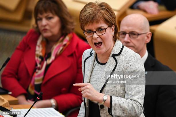 First Minister of Scotland Nicola Sturgeon responds to questions during first minister's questions in the Scottish Parliament on November 15 2018 in...