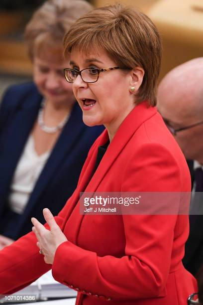 First Minister of Scotland Nicola Sturgeon responds to questions during first minister's questions in the Scottish Parliament on November 22 2018 in...