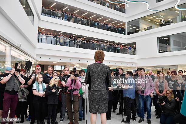 First Minister of Scotland Nicola Sturgeon speaks as she officially opens the revamped Kilmarnock campus of Ayrshire College on December 12 2016 in...