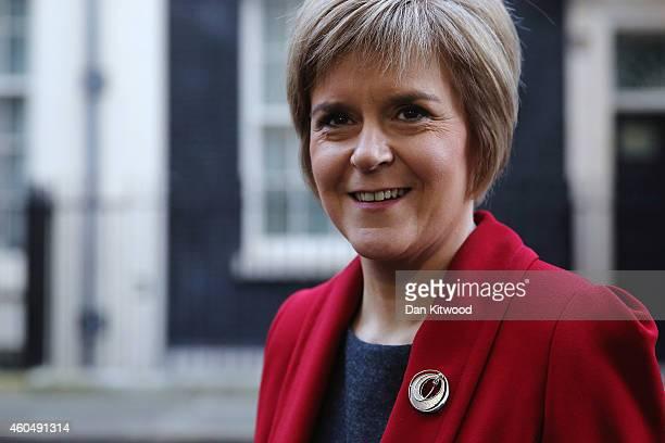 First Minister of Scotland Nicola Sturgeon speaks to reporters outside 10 Downing Street on December 15 2014 in London England Nicola Sturgeon met...