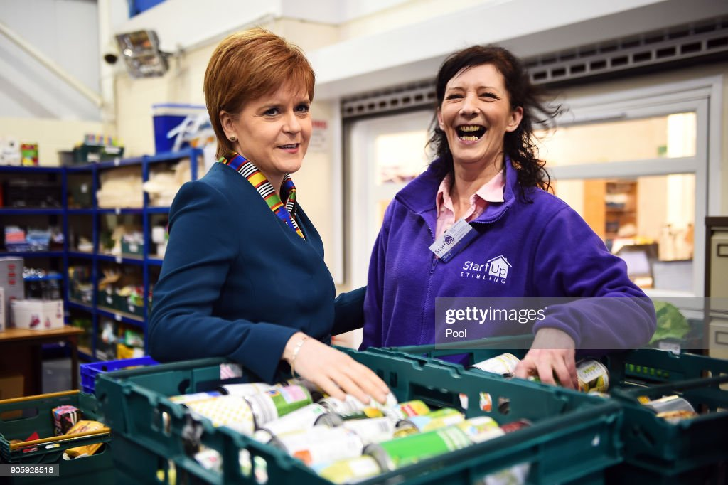 First Minister of Scotland Nicola Sturgeon Visits A Food Bank
