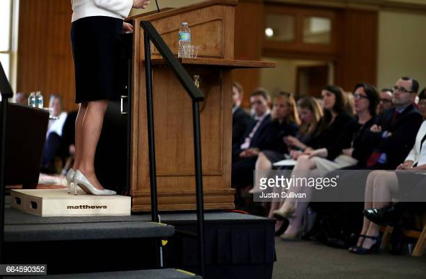 First Minister of Scotland Nicola Sturgeon stands on a box as she speaks during an event at Stanford University on April 4 2017 in Stanford...