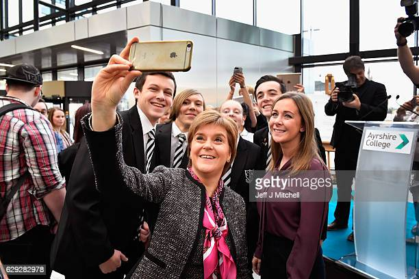 First Minister of Scotland Nicola Sturgeon takes a selfie with students as she officially opened the revamped Kilmarnock campus of Ayrshire College...