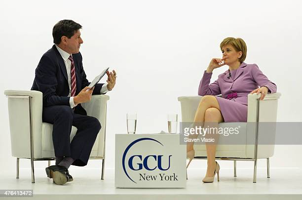First Minister of Scotland Nicola Sturgeon talks to BBC's North America Jon Sopel at Glasgow Caledonian University New York on June 8 2015 in New...