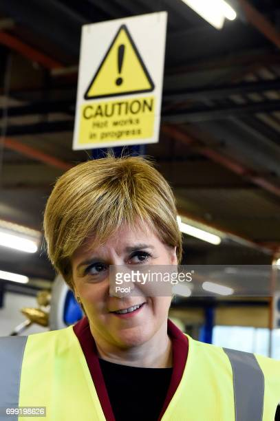 First Minister of Scotland Nicola Sturgeon visits the Michelin Tyre factory on June 21 2017 in Dundee Scotland More than 16 million GBP is expected...