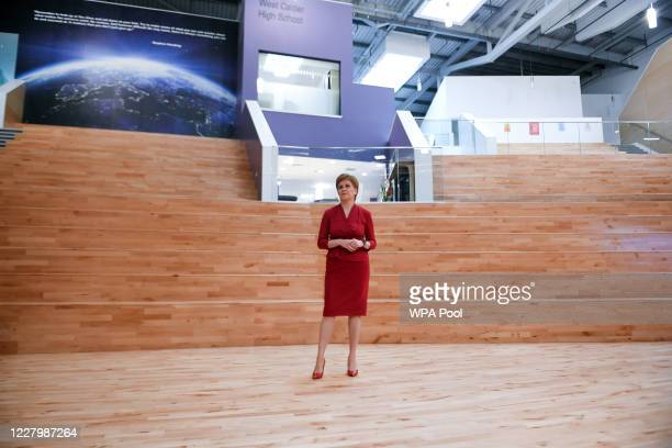 First Minister of Scotland Nicola Sturgeon visits West Calder High School in West Calder to see preparations ahead of pupils returning later this...