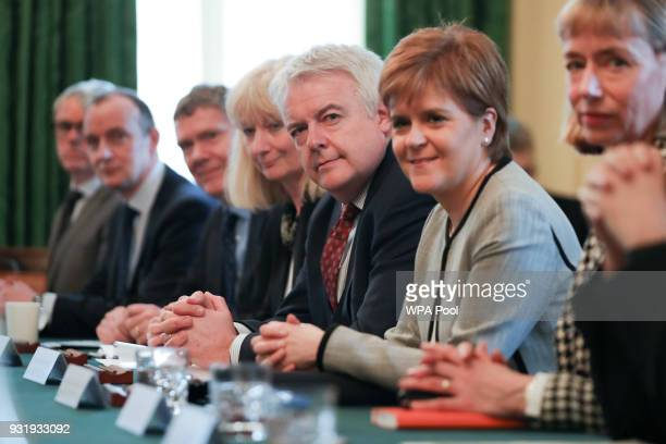 First Minister of Wales Carwyn Jones and Scotland's First Minister Nicola Sturgeon attend a meeting of the Joint Ministerial Committee chaired by...