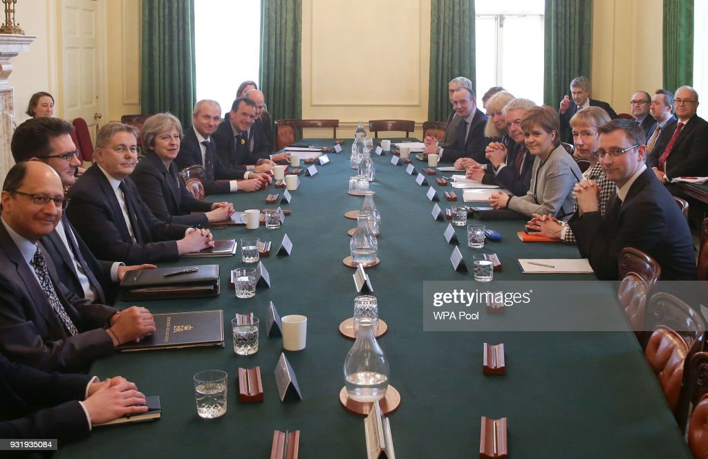 First Minister of Wales, Carwyn Jones (CL-R) and Scotland's First Minister Nicola Sturgeon (CR-R) attend a meeting of the Joint Ministerial Committee, chaired by Britain's Prime Minister Theresa May (C-L) at 10 Downing Street on March 14, 2018 in London, England.