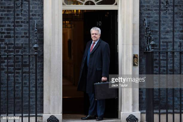 First Minister of Wales Carwyn Jones arrives for the Joint Ministerial Committee Meeting at 10 Downing Street on March 14 2018 in London England The...