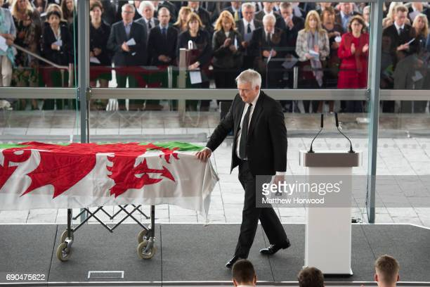 First Minister of Wales Carwyn Jones attends the funeral of the former First Minister of Wales Rhodri Morgan at the Senedd in Cardiff Bay on May 31...