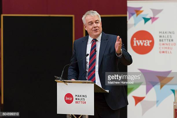 First Minister of Wales Carwyn Jones during a IWA debate called Europe In or Out with Nigel Farage leader of the UK Independence Party at the Wales...
