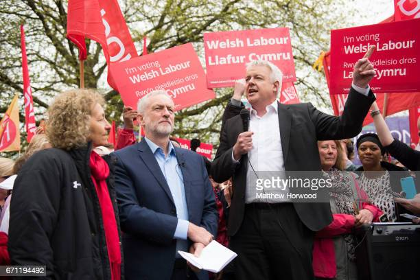 First Minister of Wales Carwyn Jones introduces Labour Leader Jeremy Corbyn at a rally in Whitchurch in the Cardiff North constituency on April 21...
