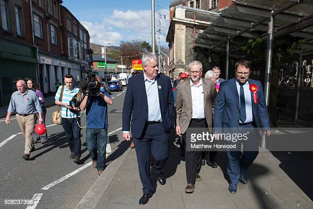 First Minister of Wales Carwyn Jones Leader of the Labour Party Jeremy Corbyn and byelection candidate for Ogmore Chris Elmore walk through the...