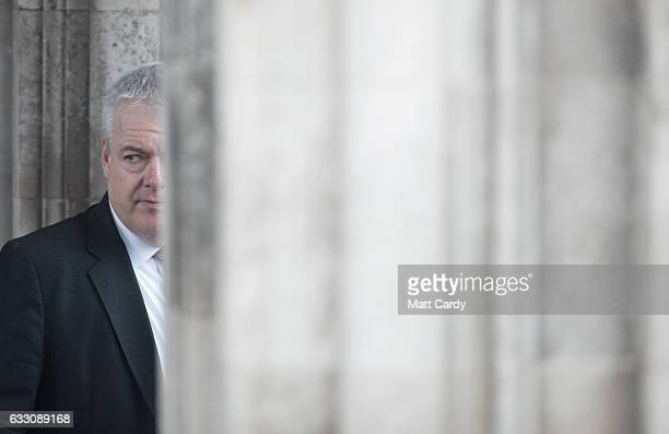 First Minister of Wales Carwyn Jones leaves Cardiff City Hall after a committee which includes the leaders from Westminster Cardiff Edinburgh and...