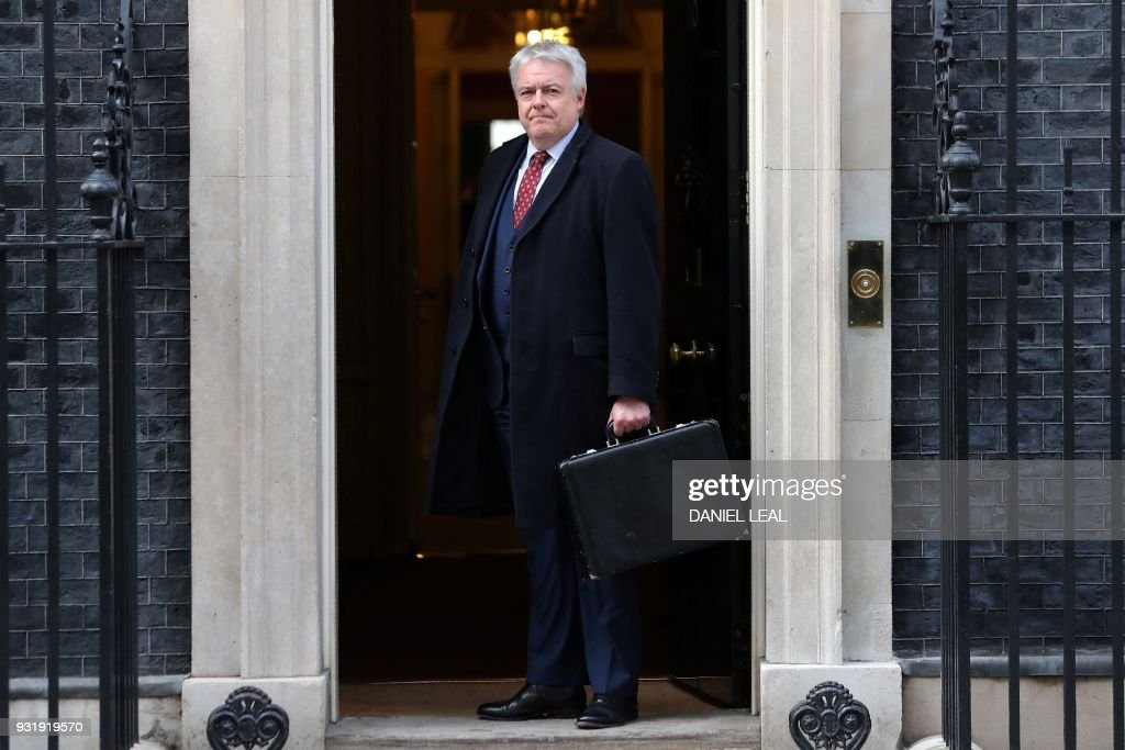 First Minister of Wales, Carwyn Jones, poses as he arrives at 10 Downing Street in central London on March 14, 2018, ahead of a meeting of the Joint Ministerial Committee, chaired by Britain's Prime Minister Theresa May. / AFP PHOTO / Daniel LEAL