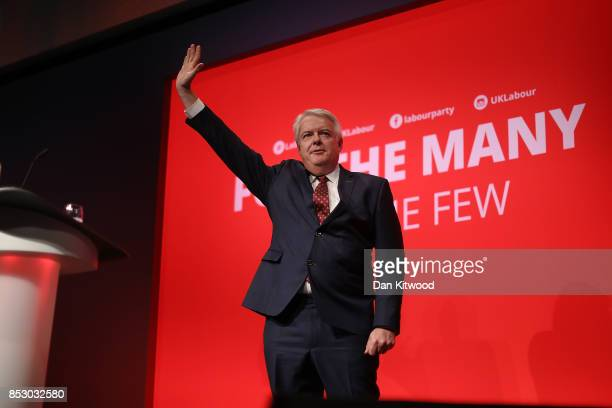 First Minister of Wales Carwyn Jones speaks in the main hall during day one of the Labour Party Conference on September 24 2017 in Brighton England...