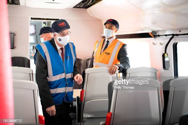 First Minister of Wales, Mark Drakeford on a train at CAF rolling stock factory on April 15, 2021 in Newport, United Kingdom. Sir Keir Starmer visits...
