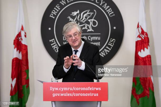 First Minister of Wales Mark Drakeford speaks during a coronavirus press conference at the Welsh Government Building in Cathays Park on February 19,...