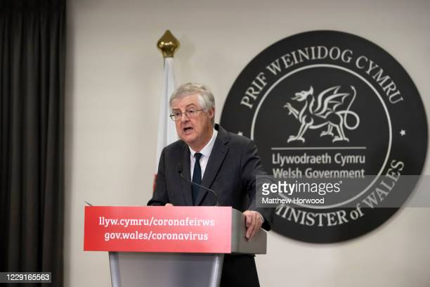First Minister of Wales Mark Drakeford speaks during a press conference after the Welsh cabinet announced that Wales will go into national lockdown...