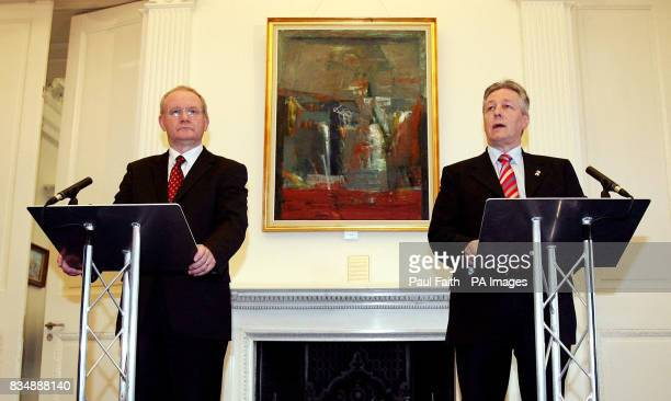 First Minister Peter Robinson and Deputy First Minister Martin McGuinness, speaking to the media at Stormont Castle, Belfast.